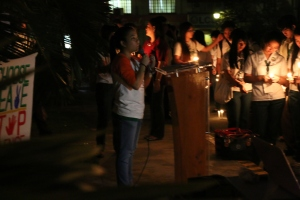 Broadcast Journalism Program Council Vice President Elaise Povadora at the DLSU-D tribute to victims of Maguindanao Massacre